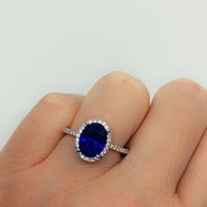 Sapphire Sterling Silver and CZ Diamond Halo RIng